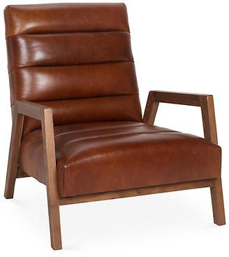 Kim Salmela Gracie Channel Chair - Brown Leather