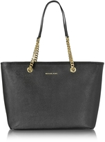 Michael Kors Black Saffiano Leather Jet Set Travel Chain T/Zip Multifunction Tote