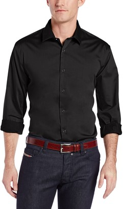 Perry Ellis Mens Travel Luxe Solid Non-Iron Twill Button Down Shirt