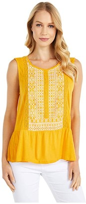 Lucky Brand Embroidered Peplum Top (Golden Glow Multi) Women's Clothing