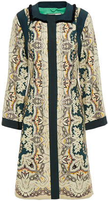 Etro Grosgrain-trimmed Paneled Printed Cotton, Silk And Linen-blend Coat