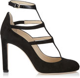 Jimmy Choo DOLL 100 Black Suede and Patent Caged Round Toe Pumps