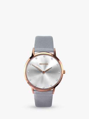 Sekonda 2938 Women's Crystal Leather Look Strap Watch, Grey/Silver