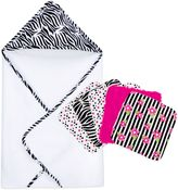 Trend Lab Zebra 6-Piece Hooded Towel and Washcloth Bouquet Set
