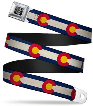 """Buckle Down Buckle-Down Unisex-Adults Seatbelt Belt Colorado Regular Flags Repeat Vintage 1.5"""" Wide - 24-38 Inches"""