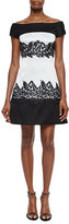 J. Mendel Off-The-Shoulder Lace Applique Cocktail Dress