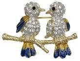 AJ Fashion Jewellery BIRDINA Plated Crystal 2 Bird Brooch