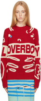Thumbnail for your product : Charles Jeffrey Loverboy Red Logo Graphic Sweater