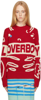 Charles Jeffrey Loverboy Red Logo Graphic Sweater
