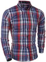 JJCat Men's Button-Down Long Sleeve Fashion Plaids Slim Fit Cotton Casual Shirts(M(TAG:XL),)