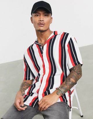 Jack and Jones Core revere collar short sleeve shirt in vertical stripe