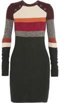 Etoile Isabel Marant Duffy Striped Wool Mini Dress - Forest green