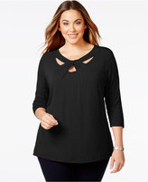 INC International Concepts Plus Size Cutout-Neck Top, Only at Macy's