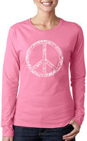 LOS ANGELES POP ART Los Angeles Pop Art The Word Peace In 77 LanguagesWomen's Long Sleeve Word Art Graphic T-Shirt