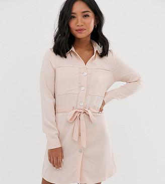Miss Selfridge Petite shirt dress with tie waist in light pink