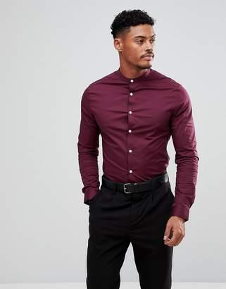 Asos Design DESIGN skinny shirt in burgundy with grandad collar-Red