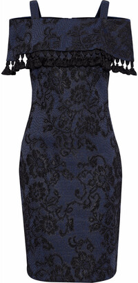 Badgley Mischka Cold-shoulder Embroidered Lace Dress