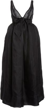Brock Collection Bow-Embellished Silk-Taffeta Maxi Dress