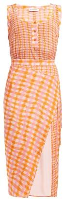 Altuzarra Eleonora Gingham-print Silk Midi Dress - Womens - Orange Multi