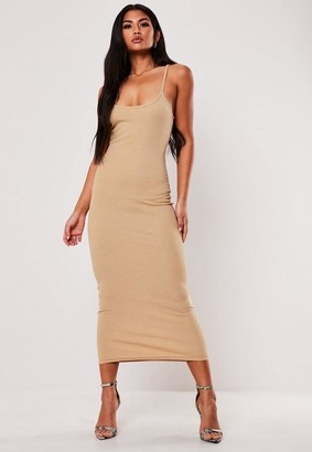 Missguided Nude Ribbed Strappy Bodycon Midi Dress