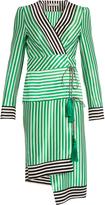 Etro Asymmetric-hem striped silk-satin wrap dress