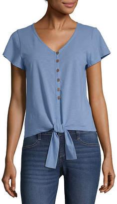 A.N.A Womens V Neck Short Sleeve Knit Blouse