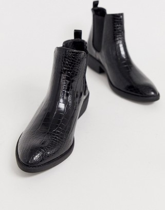 Park Lane heeled western boots in black croc