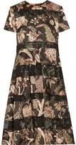 Zimmermann Lavish Corded Lace-Paneled Printed Crepe Midi Dress