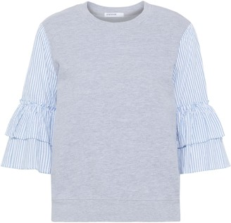 Stateside Tiered Striped Broadcloth-paneled French Cotton-terry Top