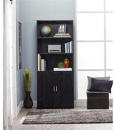 Altra Moberly Black Ebony Ash Bookcase with Doors
