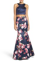 Xscape Evenings Floral Satin Two-Piece Ballgown
