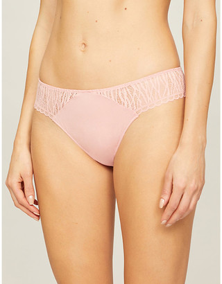 Passionata Ironic mid-rise stretch-lace and stretch-jersey tanga briefs