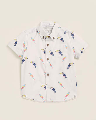 Sovereign Code Toddler Boys) Short Sleeve Island Bird Print Woven Shirt