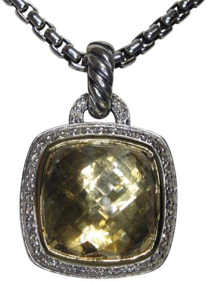 David Yurman Albion 18K Yellow Gold & Sterling Silver Champagne Citrine Diamond Pendant