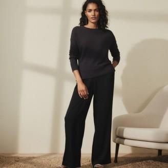 The White Company Satin Wide-Leg Trousers, Black, 12