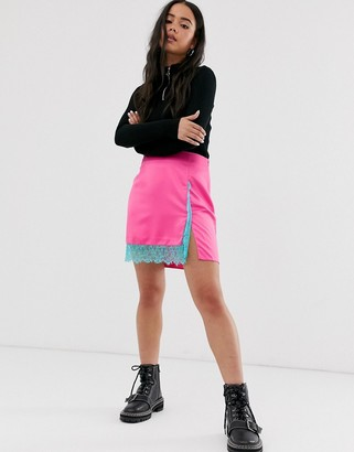 Asos Design DESIGN neon satin mini skirt with lace hem-Pink