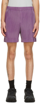 Homme Plissé Issey Miyake Purple Gingham Hologram Shorts