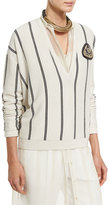 Brunello Cucinelli Striped Cashmere V-Neck Cardigan, Multi