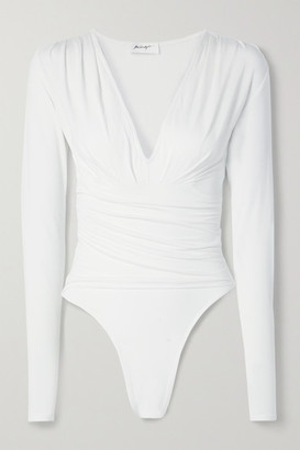 The Line By K Isla Ruched Stretch-micro Modal Bodysuit - White