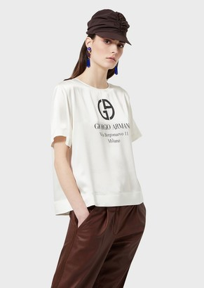 Giorgio Armani Satin T-Shirt With Logo Print