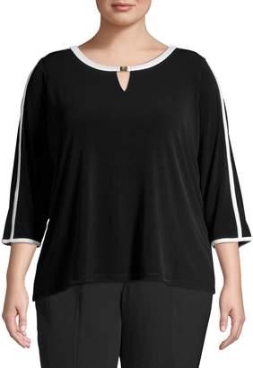 Calvin Klein Plus Three-Quarter-Sleeve Piped Split Neck Top