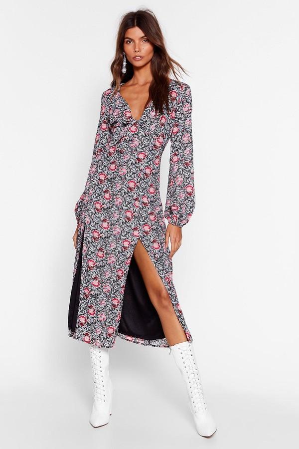 Nasty Gal Womens One-Slit Wonder Floral Mini Dress - Black - 4