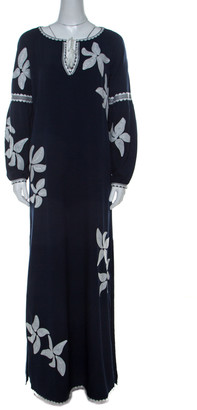 Tory Burch Navy Blue Crepe Embroidered Full Sleeve Jillian Maxi Dress M