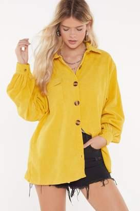 Nasty Gal Womens Don'T Texture Back Oversized Corduroy Shirt - Yellow - 4, Yellow