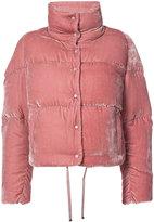 Moncler cropped velvet puffer jacket - women - Silk/Viscose/Goose Down/Polyimide - 1