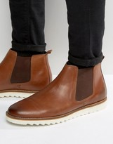 Asos Chelsea Boots In Tan Leather With White Sole