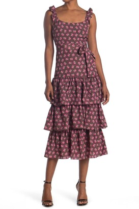 LIKELY Charlotte Tiered Floral Midi Dresss