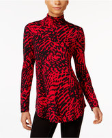 JM Collection Animal-Print Turtleneck Top, Only at Macy's