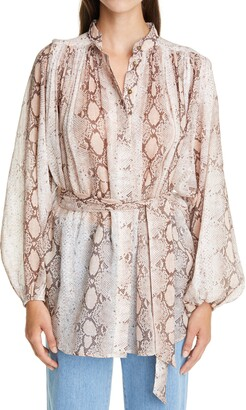 Zimmermann Bellitude Snake Print Long Sleeve Tunic