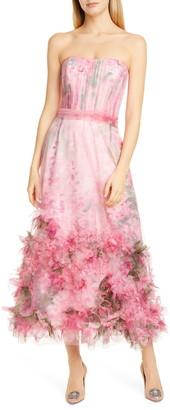 Marchesa Floral Applique Strapless Dress